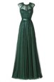 A-line Dress for Prom Pink Scoop Tulle Sleeveless Floor Length Zipper