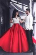 Off the Shoulder Appliques Prom Party Dress Red Zipper Short Sleeves Floor Length