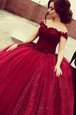 Pretty Off the Shoulder Wine Red Short Sleeves Lace Floor Length Mother Of The Bride Dress