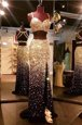 Free and Easy Mermaid With Train Backless Prom Dress Gold and In for Prom with Beading Sweep Train