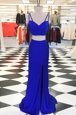 Fashionable Scoop Sleeveless With Train Ruching Zipper Prom Dresses with Royal Blue Sweep Train