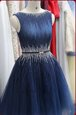 Great Scoop Navy Blue Zipper Cocktail Dresses Beading Sleeveless Knee Length