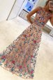 Fantastic Scoop Hand Made Flower Prom Evening Gown Multi-color Zipper Sleeveless Floor Length