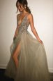 Hot Selling Champagne Sleeveless Appliques Knee Length Prom Party Dress