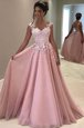 Scalloped Tea Length Multi-color Prom Gown Tulle Sleeveless Embroidery