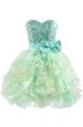 Superior Beading and Bowknot Cocktail Dresses Green Lace Up Sleeveless Knee Length