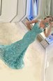 Pretty Mermaid Turquoise Sleeveless Sweep Train Appliques With Train Prom Dress