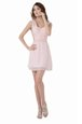 Baby Pink Chiffon Backless Prom Homecoming Dress Sleeveless Knee Length Ruching