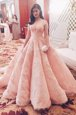 Inexpensive Pink Tulle Zipper Prom Dress Short Sleeves With Train Sweep Train Lace