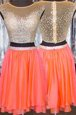 Captivating Mini Length Orange Evening Dress Bateau Cap Sleeves Zipper