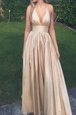 Enchanting Champagne A-line Halter Top Sleeveless Taffeta Floor Length Zipper Ruching Prom Evening Gown