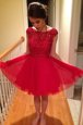 Red Bateau Zipper Beading Prom Evening Gown Cap Sleeves