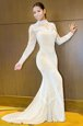 Mermaid Long Sleeves White Prom Gown Sweep Train Backless