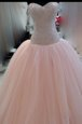 Elegant Scoop Floor Length Peach Homecoming Dress Tulle Sleeveless Beading and Lace