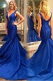 Mermaid Royal Blue V-neck Zipper Pleated Homecoming Dress Court Train Sleeveless