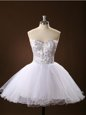 Mini Length White Homecoming Dress Tulle Sleeveless Sashes|ribbons