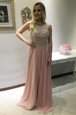 Extravagant Scoop Sleeveless Sweep Train Backless Prom Dresses Pink Chiffon
