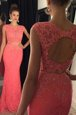 Best Mermaid Lace Sleeveless With Train Beading and Appliques Backless Dress for Prom with Watermelon Red Sweep Train