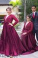 Scoop Burgundy Long Sleeves Sweep Train Beading With Train Mother Of The Bride Dress