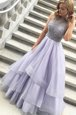 Elegant Organza Scoop Sleeveless Zipper Beading Prom Evening Gown in Lavender