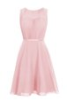 Scoop Ruching Prom Dresses Baby Pink Zipper Sleeveless Knee Length