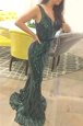 Luxurious Mermaid Sashes|ribbons Prom Gown Dark Green Zipper Sleeveless Sweep Train