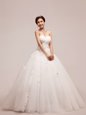 Perfect Taffeta Sleeveless With Train Wedding Dress Court Train and Beading and Pick Ups