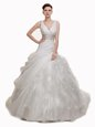 White Sleeveless With Train Beading and Appliques and Ruffles and Pick Ups Lace Up Wedding Gown