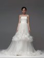 White A-line Strapless Sleeveless Tulle With Brush Train Lace Up Ruffled Layers and Ruching Wedding Dresses