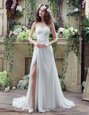 Simple White Zipper Strapless Beading and Appliques Wedding Gowns Organza Sleeveless Brush Train