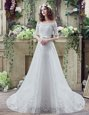 Free and Easy White Lace Lace Up Off The Shoulder Short Sleeves Wedding Dress Court Train Lace and Appliques and Bowknot