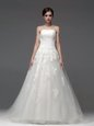 Lovely Lace Up Wedding Gowns White and In for Wedding Party with Appliques Brush Train