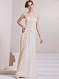 Most Popular Scoop Sleeveless Wedding Dress Floor Length Beading Champagne Chiffon