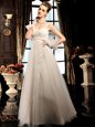Captivating White Empire Tulle V-neck Sleeveless Beading Floor Length Lace Up Bridal Gown