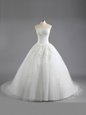 Exceptional Strapless Sleeveless Wedding Gown With Train Court Train Beading and Appliques White Tulle