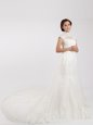 Chiffon Short Sleeves With Train Wedding Gowns Chapel Train and Lace