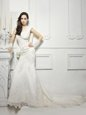 Lace and Appliques Wedding Gown White Zipper Cap Sleeves With Train Court Train