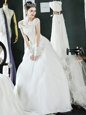 Off the Shoulder Floor Length Lace Up Wedding Gown White and In for Wedding Party with Beading and Lace and Appliques