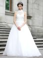 Custom Fit White Zipper High-neck Lace Bridal Gown Tulle Sleeveless