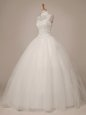 Artistic White Halter Top Lace Up Beading Bridal Gown Sleeveless
