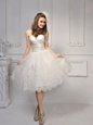 Pretty Sleeveless Knee Length Lace Lace Up Wedding Gowns with White