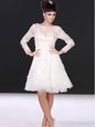 Best Bateau Long Sleeves Wedding Dress Knee Length Lace White Lace