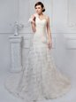 Beautiful White One Shoulder Lace Up Ruffled Layers and Ruching and Hand Made Flower Wedding Dresses Brush Train Sleeveless