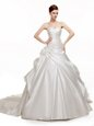 Elegant White A-line Satin Sweetheart Sleeveless Beading and Pick Ups With Train Lace Up Bridal Gown Chapel Train