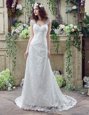 Graceful Lace Sleeveless Wedding Dress Brush Train and Lace and Appliques