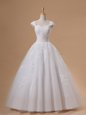 High End Sequins Sweetheart Cap Sleeves Lace Up Wedding Gowns White Tulle