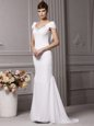 Mermaid V-neck Cap Sleeves Wedding Gown With Brush Train Beading and Hand Made Flower White Chiffon