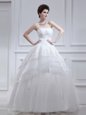 Ruffled Floor Length White Bridal Gown Strapless Sleeveless Lace Up