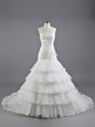 Organza Strapless Sleeveless Brush Train Lace Up Ruffled Layers and Hand Made Flower Wedding Dresses in White
