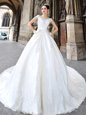 White Off The Shoulder Neckline Beading and Lace and Appliques Wedding Gowns Cap Sleeves Side Zipper